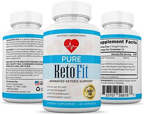 Pure Keto Fit Pills Advanced BHB Ketogenic Supplement Exogenous Ketones Ketosis for Men Women 60 Capsules 3 Bottles 7