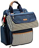 INNO STAGE Wide Open Picnic Backpack Bag for 4, with Large Capacity Insulated Cooler Compartment,9' Plates,Wooden Handle Cutlery and Waterproof Blanket - Gift for Mothers Day