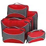 G4Free Packing Cubes 6pcs Set Travel Accessories Organizers Versatile Travel Packing Bags(Red)