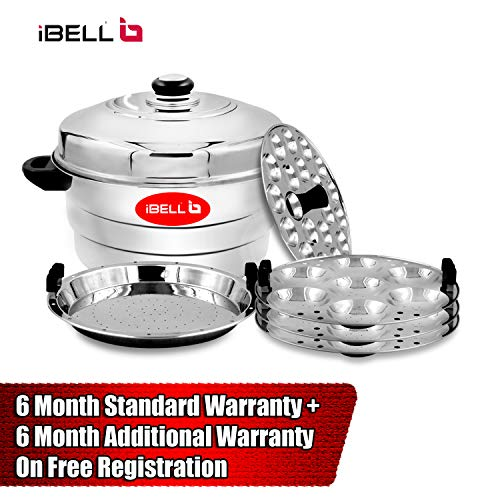 510P5Qyy5lL - IBELL IP21P3SM High Food Grade Idly Pot Stainless Steel with Steamer and Mini 3 Idlis Plates (21 Idlyes)