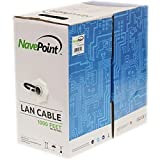 NavePoint CAT6 1000FT UTP Cable Solid 23AWG Black 550MHz Network Ethernet Bulk Wire LAN
