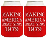 Birthday Gifts for 40th Birthday Making America Great Since 1979 40th Birthday Gag Gifts for Birthday Party 2 Pack Can Coolie Drink Coolers Coolies Red