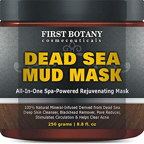 100% Natural Mineral-Infused Dead Sea Mud Mask 8 8 oz for Facial Treatment,  Skin Cleanser, Pore Reducer, Anti Aging Mask, Acne Treatment, Blackhead