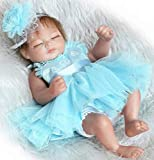 Pinky 26cm 10 inch Mini Hard Vinyl Silicone Full Body Reborn Baby Doll Realistic Newborn Dolls with Blue Dress Xmas Birthday Present