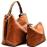 Handbag Republic Ostrich Embossed Tote w/Inner Bag Crossbody- Brown