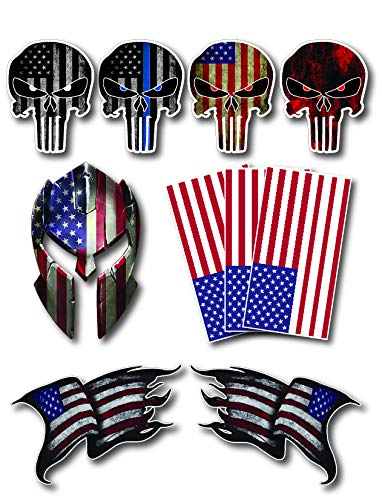10 Small Molon Labe Punisher Skull Spartan Hard Hat Helmet 3M Vinyl Decal Sticker