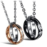 His Her Titanium Steel Couple Pendant Necklace Matching Set Engraved Love Style Anniversary Girlfriend Gift by Feraco