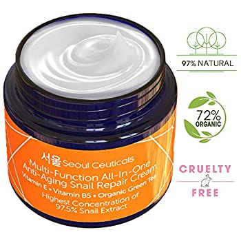 This luxury skin care snail cream extract contains the highest concentration of snail mucin (97.5%) compared to competing Korean snail creams. Also, unlike the other brands, this moisturizing and healing cream contains shea butter + organic aloe + ja...
