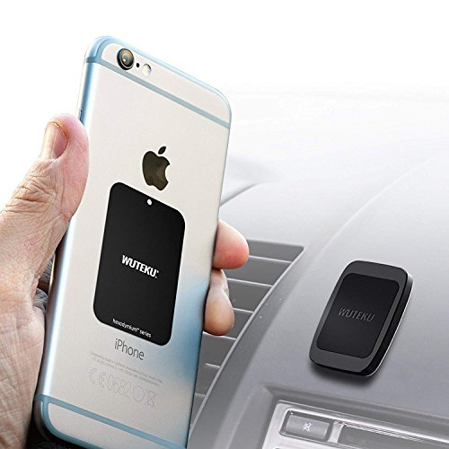 WUTEKU Flat Magnetic Cell Phone Holder Kit for Car | Works on All Vehicles, Phones & Tablets | Compatible with iPhone XR XS X 8 7 Plus & Galaxy S10 S9 S8 by Pro Driver