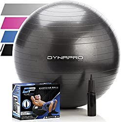 DYNAPRO Exercise Ball - 2,000 lbs Stability Ball - Professional Grade – Anti Burst Exercise Equipment for Home, Balance, Gym, Core Strength, Yoga, Fitness, Desk Chairs (Black, 65 Centimeters)