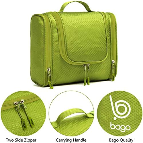Bago Hanging Toiletry Bag For Women & Men - Leak Proof Travel Bags for Toiletries with Hanging Hook & Inner Organization to Keep Items From Moving - Pack Like a PRO