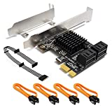SHINESTAR SATA Card 4 Port with SATA Power Splitter Cable & 4 SATA Cables & Low Profile Bracket, 6 Gb/s SATA 3.0 PCIe SATA Controller Expansion Card Non-Raid, Boot as System Disk