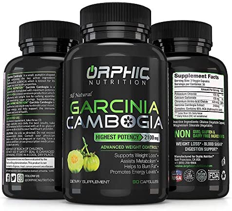 100% Pure Garcinia Cambogia Extract - Appetite Suppressant - Carb Blocker Capsules - 2100 MG - 90 Caps 10