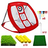 MESIXI Pop Up Golf Chipping Net | Perfect Golf Gifts for Men, Outdoor Indoor Putting Green Golfing Target Accessories Backyard Practice Swing Game with 15 Training Balls and Two Hitting Mats (Red)