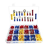 1200pcs Insulation Crimp Terminal Copper Crimp Connector Insulated Cord Pin End Terminal Kit 18 Type Model Power Cord Coding End Connector Forked Fork Ring Distribution Kit