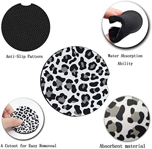 Car Coasters for Drinks Absorbent, Cute Car Coasters for Women, ar Cup Holder Coasters for Your Car with Fingertip Grip, Auto Accessories for Women & Lady,Pack of 2 (Snow Leopard) 13