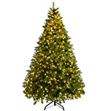 Goplus Pre-Lit Christmas Tree Artificial PVC Spruce Hinged with 880 LED Lights and Solid Metal Legs (8ft)