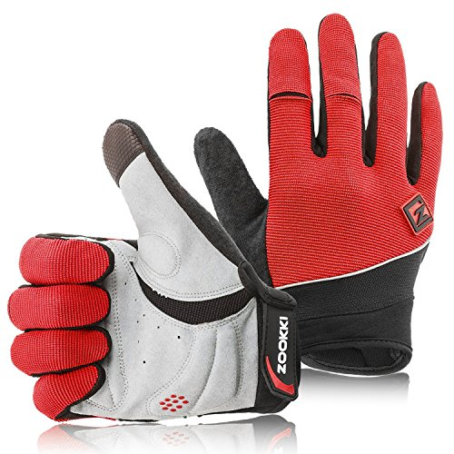 "Zookki Cycling Gloves Mountain Bike Gloves Road Racing Bicycle Gloves Light Silicone Gel Pad Riding Gloves Touch Recognition Full Finger Gloves Men/Women Work Gloves Full finger-Red L(7.9""-9.0"")"