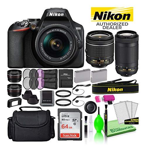 Nikon-D3500-242MP-DSLR-Digital-Camera-with-18-55mm-and-70-300mm-Lenses-1588-USA-Model-Deluxe-Bundle-Includes-Sandisk-64GB-SD-Card-Large-Camera-Bag-Filter-Kit-Spare-Battery-Telephoto-Lens