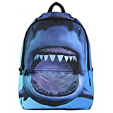 Hynes Eagle Printed Kids School Backpack Cool Children Bookbag Shark
