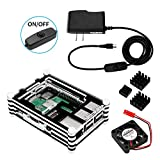 LAFVIN Raspberry Pi 3 B+ Case with Fan,3× Heatsinks,5V 2.5A Power Supply with On/Off Switch,Compatible with Raspberry Pi 3 Model B, Raspberry Pi 2 Model B