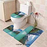 3pcs/Set Lake House Decor Style Toilet Mat,Mountain and Lake Louise Panorama in Banff National Park Alberta Canada,Plush Bathroom Decor Mat with Non Slip Backing Turquoise Blue