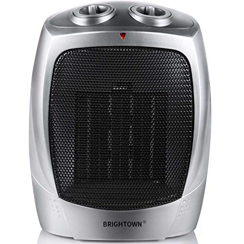 Brightown 750W/1500W ETL Listed Quiet Ceramic Space Heater with Adjustable Thermostat, Portable Electric Heater Fan with Overheat Protection