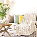 jinchan Throw Blanket Lightweight 50' x 60' Cable Knit Sweater Style Year Round Indoor Outdoor Accent Throw for Sofa Comforter Couch Living Room Ivory to Beige