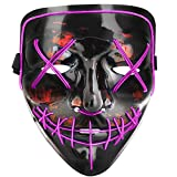 Tcamp Halloween Scary Mask LED Cosplay Costume Mask El Wire Light Up Mask for Halloween Festival Party (Purple)