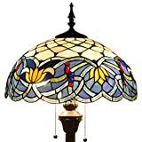 Tiffany Style Floor Standing Lamp 64 Inch Tall Blue Lotus Stained Glass Shade 2 Light Antique Base for Bedroom Living Room Reading Lighting Coffee Table Set S220 WERFACTORY