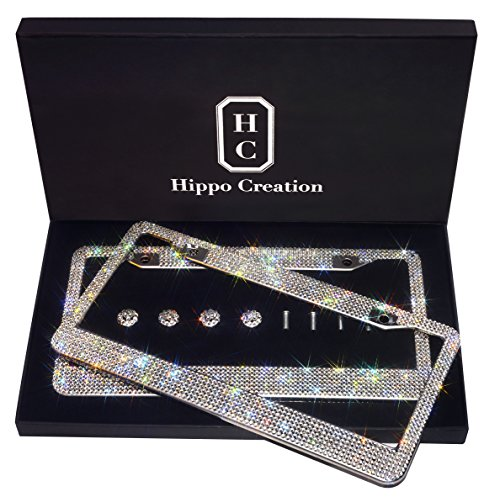 2 Pack Luxury Handcrafted Bling White Rhinestone Premium Stainless Steel License Plate Frame with GiftBox | Over 1000 pcs Finest 14 Facets SS20 Clear White Rhinestone Crystal | Anti-Theft Screw Cap