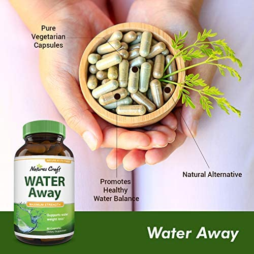 Natural Water Pills - Reduce Excess Water - Weight Loss Appetite Suppressant Benefits - Vitamin B6 Pyridoxine Hydrochloride - Dandelion Root + Pure Green Tea Diuretic for Women & Men 8