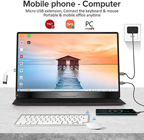 """Portable Monitor, Upgraded 15.6"""" IPS HDR 1920X1080 FHD Eye Care Screen USB C Gaming Monitor, Dual Speaker Computer Display HDMI Type-C MiniDP OTG VESA for Laptop PC MAC Phone Game Device w/Smart Case 16"""
