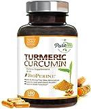 Turmeric Curcumin Max Potency 95% Curcuminoids 1950mg with Bioperine Black Pepper for Best Absorption, Best Vegan Joint Pain Relief, Made in USA, Turmeric Curcumin Pills by PureTea - 180 Capsules