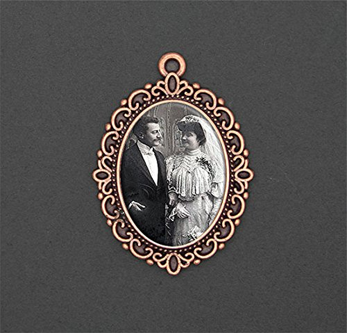 Bridal Wedding Bouquet Photo Charm Copper Picture Frame Memorial