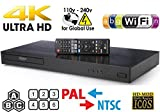 LG UP970 UHD - Dual HDMI - 2D/3D - Wi-Fi - 2K/4K - RegionFree Blu Ray Disc DVD Player - PAL/NTSC - USB - 100-240V 50/60Hz for World-Wide Use 6 Feet Multi System 4K HDMI Cable