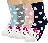 JJMax Women's Hello Kitty Cute Cotton Blend Ankle Socks Set, Polka Dot Crew Socks, One Size