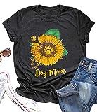 Dog Mom Sunflower Graphic Mom Gift T Shirt Women's Short Sleeve Letter Print Dog Lover Tees Casual Tops Size Medium (Black)