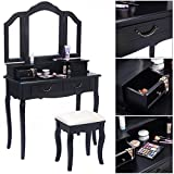 Product review for Eight24hours Tri Folding Mirror Black Wood Vanity Set Makeup Table Dresser 4 Drawers + Stool - V1