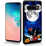 DISNEY COLLECTION Cartoon Cute Phone Case Fit for Samsung Galaxy S10+(6.4 inch) Mickey with Minnie Moonlight Bumper Shockproof Protective Black Cover