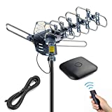 pingbingding Outdoor Antenna Digital HDTV Antenna Amplified TV Antenna 150 Miles Motorized 360 Degree Rotation with 40FT RG6 Coax Cable - UHF/VHF/1080P Snap-On Installation