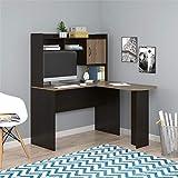 Mainstays Student Desk - Home Office Bedroom Furniture Indoor Desk - Easy Glide Accessory Drawer (Desk Only, Rodeo Oak) (L-Shaped Desk, Espresso/Rustic Oak) (Espresso/Rustic Oak)