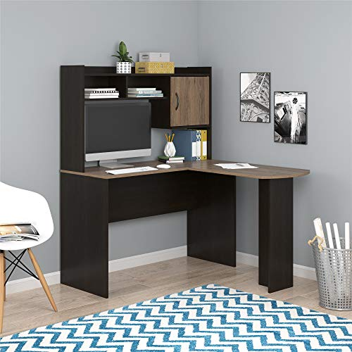 Mainstays L-Shaped Desk with Hutch, Multiple Colors (L-Shaped Desk with Hutch, Espresso/Rustic Oak)