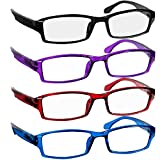 Reading Glasses 3.75 Black Red Blue Purple F501 (4 Pack)