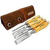 """Professional Wood Chisel Set with Tools Roll Bag – Carving & Woodworking Equipment with Chrome Vanadium Steel Blades & Ergonomic hardwood Handles – Sizes 6mm, 13mm, 18mm, 24mm (1/4"""", 1/2"""", 3/4"""", 1"""")"""