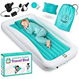 Toddler Air Mattress with Sides Includes Air Pump, Pillow, Travel Bag, and Repair Kit - Toddler and Kids Travel Bed Air Mattress with Extra Tall Safety Bumpers