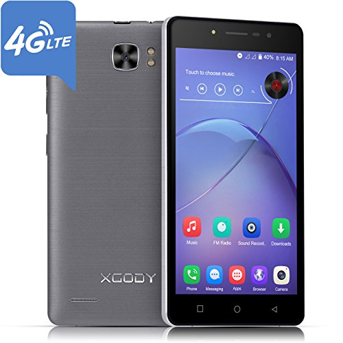 Xgody X17 Pro Android 7.0 Unlocked Smartphones Dual Sim 4G Lte 5 Inch Quad Core HD Screen ROM 16GB Dual Camera 8.0MP & 5.0MP with Wi-Fi GPS Bluetooth Celulares Black