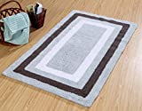 Saffron Fabs Bath Rug 100% Cotton, 50x30 Inch, Reversible - Different Pattern on Both Side, Gray, Race Track Pattern, Hand Tufted, Machine Washable