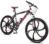 "Merax 26"" Aluminum Mountain Bike 21 Speed Bicycle 6-Spoke Magnesium Alloy Wheels Bike (Grey2019)"