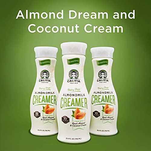 Califia Farms - Unsweetened Almond Milk Coffee Creamer with Coconut Cream, 25.4 Oz | Dairy Free | Plant Based | Keto | Sugar Free | Low Calorie | Whole30 | Non-GMO